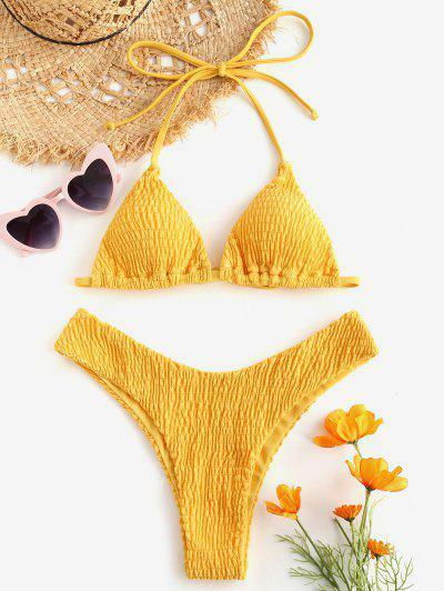 ZAFUL Halter Smocked Bikini Set