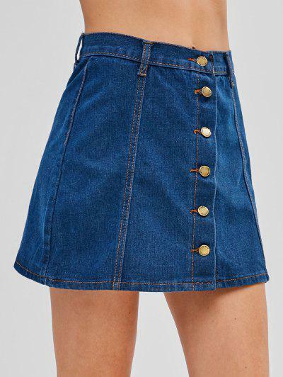 Button Up Denim Flare Skirt