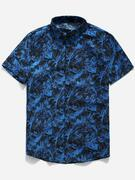 Palm Leaf Print Button Up Shirt