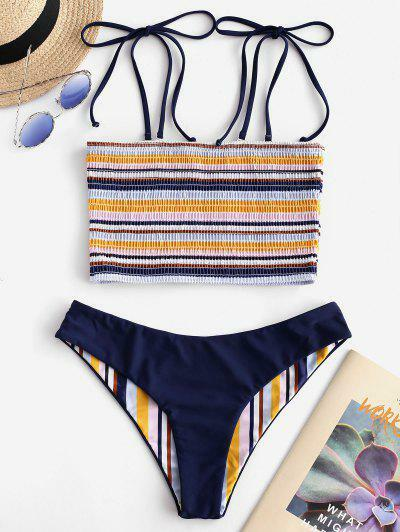 ZAFUL Striped Tie Reversible Smocked Bikini Set
