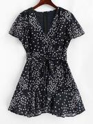 Ruffles Tiny Floral Belted Surplice Dress