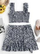 ZAFUL Smocked Tiny Floral Top and Ruffles Skirt Set