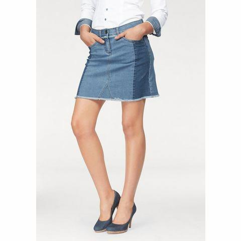 NU 15% KORTING: Arizona jeansrok met franjeboord