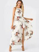 White Side Split Back Lace-up Random Floral Halter Sleeveless Dress
