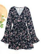 Navy Floral Print V Neck Fashion Mini Dress