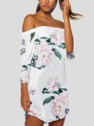 White Off Shoulder Random Flowers Print Dress