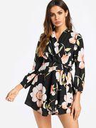 Black Random Floral Print Self-tie Design V-neck Mini Length Dress