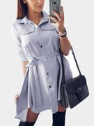 Light Grey Collar Lace-up Design Single Breasted Button Shirt Dress