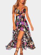 Random Floral Print Cutout Flowy Maxi Dress in Black