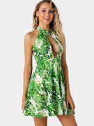 Green Random Leaves Print Cut Out Sleeveless Mini Dress