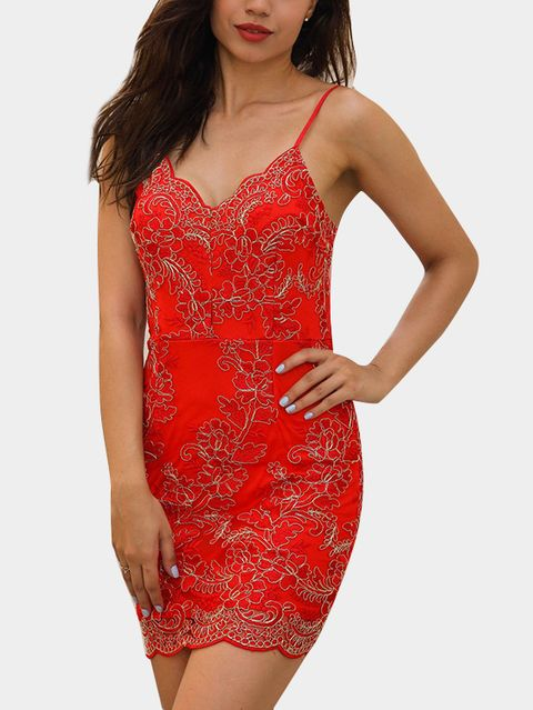 Red Floral Embroidery Pattern Crochet Lace Embellished Sexy Dress