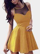 Yellow Mesh Design V-neck Sleeveless Mini Dress
