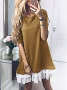 Yellow Round Neck Long Sleeves Ruffle Hem Midi Dress