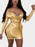 Gold Slit Side Low Cut V-neck Off Shoulder Mini Dress