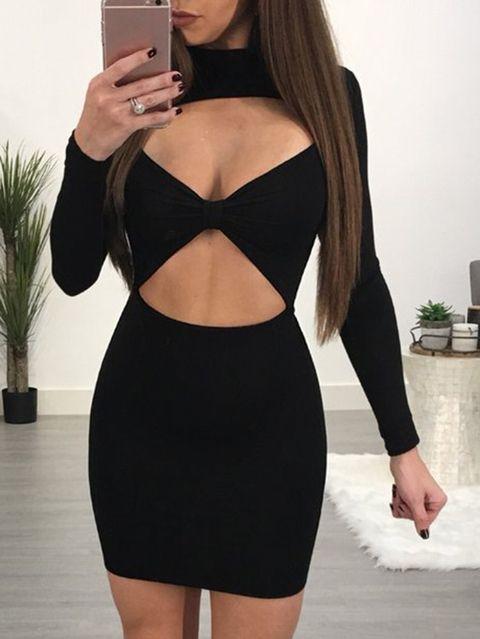 Black Cut Out Crew Neck Long Sleeves Bodycon Hem Sexy Dress
