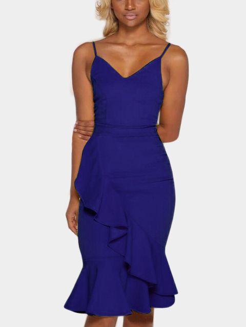 Blue Sexy V Neck Seleeves Dress With Irregular Hem