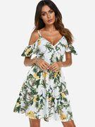 White Random Floral Print V-neck Cold Shoulder Stretch Waistband Dress