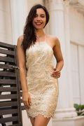 Gold Lace Halter Sleeveless Mini Dress