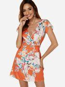 Orange Belt Design Random Floral Print Deep V Neck Short Sleeves Mini Dress