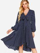 Blue Bowknot Stripe Pattern V-neck Long Sleeves Dress