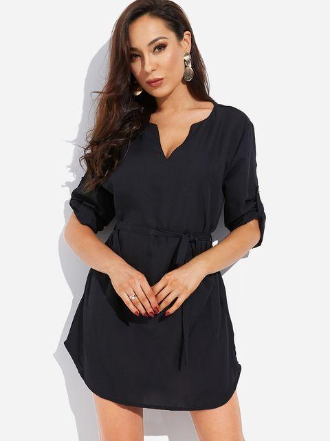 Black V-neck Button Design3/4 Length Sleeves Self-tie Design Curve Hem Dress