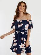 Navy Floral Print Off Shoulder Tiered Design Dress