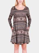 Deep Brown Vintage Pattern Round Neck Long Sleeves Christmas Dress