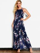Navy Floral Print Backless Fashion Long Dress