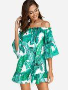 Green Backless Design Random Floral Print Off The Shoulder Dress