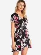 Black Self-tie Design Random Floral Print V-neck Mini Length Dress