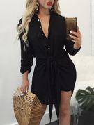 Black Self-tie & Button Design Deep V-neck Shirt Dress