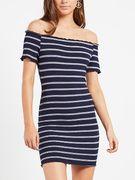 Blue Stripe Pattern Off Shoulder Short Sleeves Mini Dress