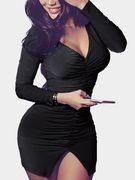 Black Pleated Design Deep V-Neck Bodycon Mini Dresses
