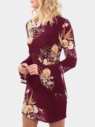 Burgundy Random Floral Printed Long Sleeves Mini Dress
