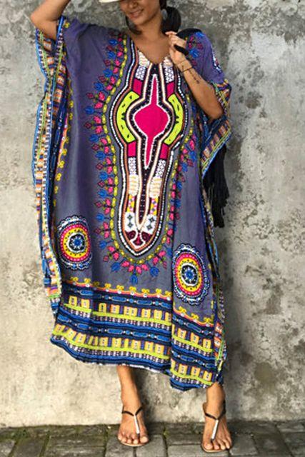 Grey Boho V-neck Random Floral Print Bat Sleeved Maxi Dress