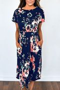 Random Floral Print Short Sleeves Stretch Waistband Dress in Navy