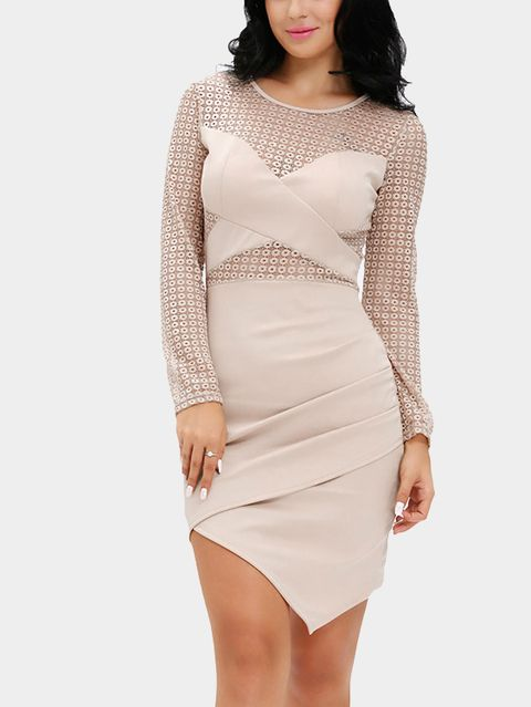 Apricot Hollow Design Irregular Hem Dress