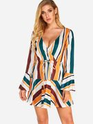 Yellow Self-tie Design Stripe Details Crossed Front Deep V Neck Flared Sleeves Dress