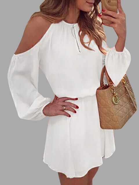 White Cold Shoulder Long Sleeves Cotton Dress with Open Back Design