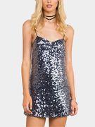 Silver Sequin V-neck Spaghetti Mini Dress