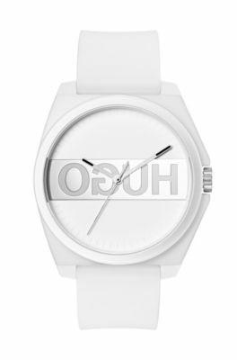 Uniseks horloge met gespiegeld logo en witte polsband van silicone