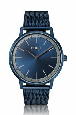 Uniseks horloge met blauwe mesh-polsband en wijzerplaat