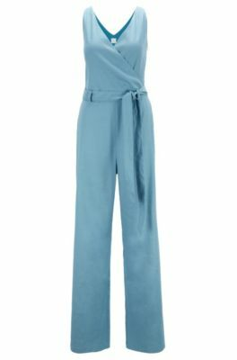 Wrap-front belted jumpsuit in a linen blend