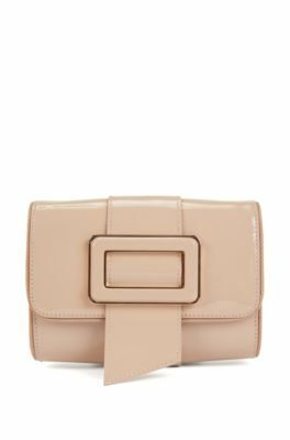 Patent-leather mini bag with statement buckle