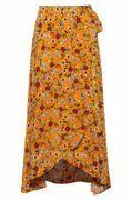 Floral-print midi wrap skirt with tie belt