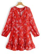 Red Random Floral Print V-neck Lantern Sleeves Ruffle Hem Dress