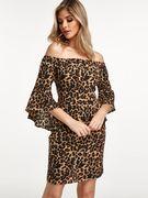 Leopard Zip Design Off The Shoulder Bell Sleeves Mini Dress