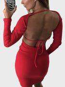 Red Backless Design Long Sleeves Bodycon Dress