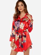 Red Belt Design Random Floral Print Lapel Collar Long Sleeves Mini Dress