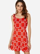 Red Random Polka Dot Backless Mini Dress